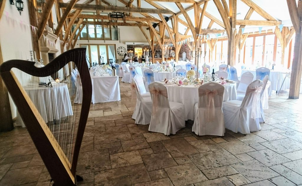 Harp for wedding breakfast at Swancar Farm Country House, Nottingham