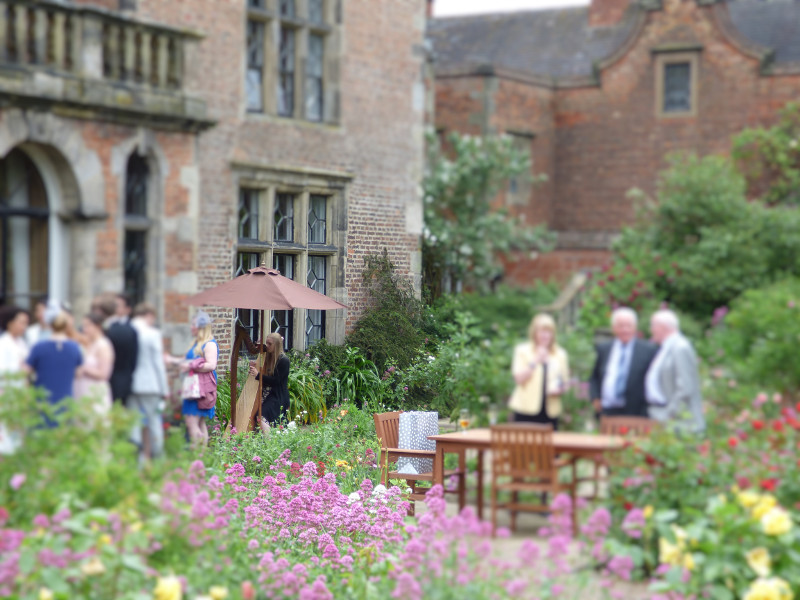 Wedding harpist playing outdoors for drinks reception at Thrumpton Hall, Nottingham