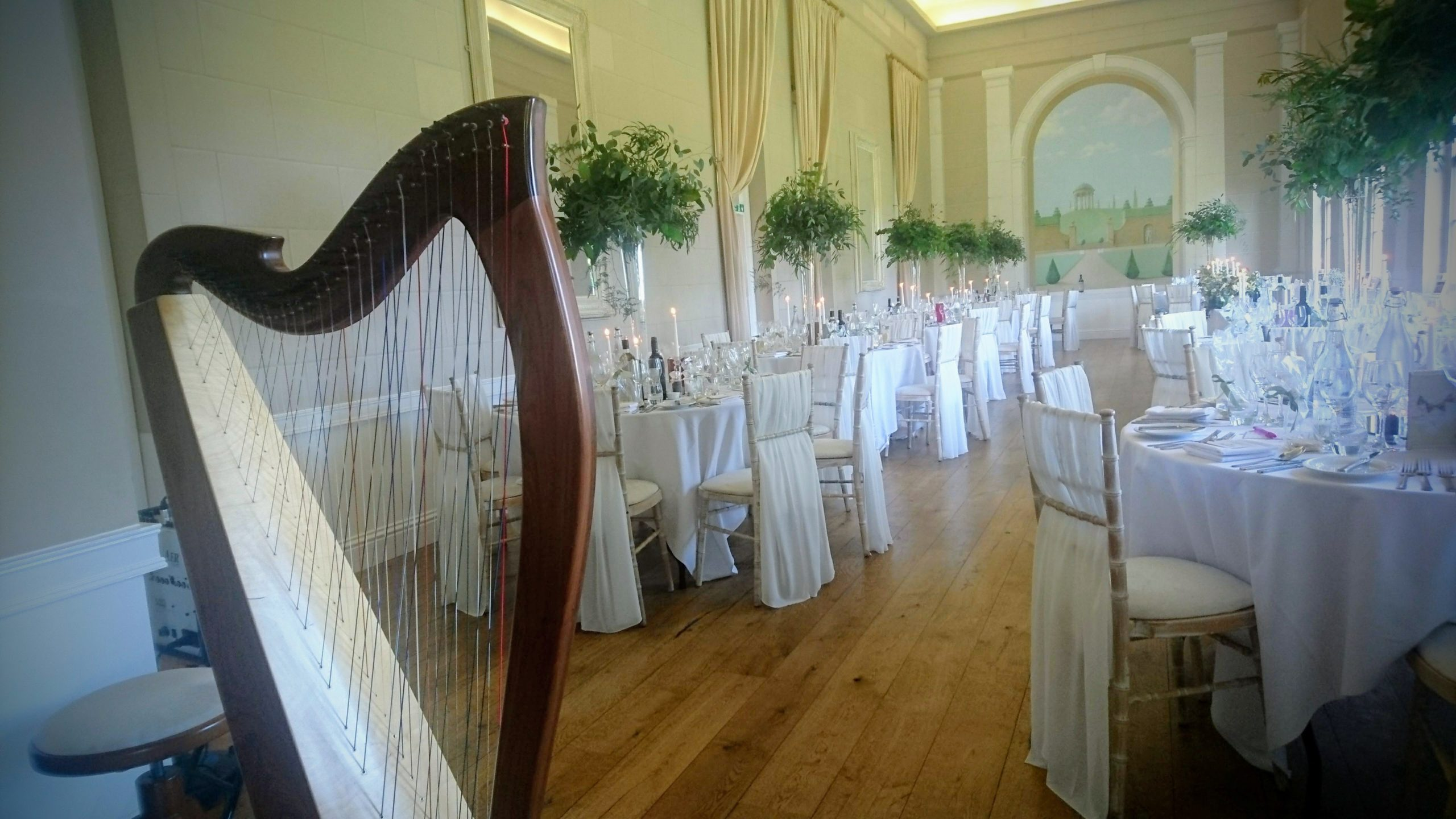harp at wedding breakfast