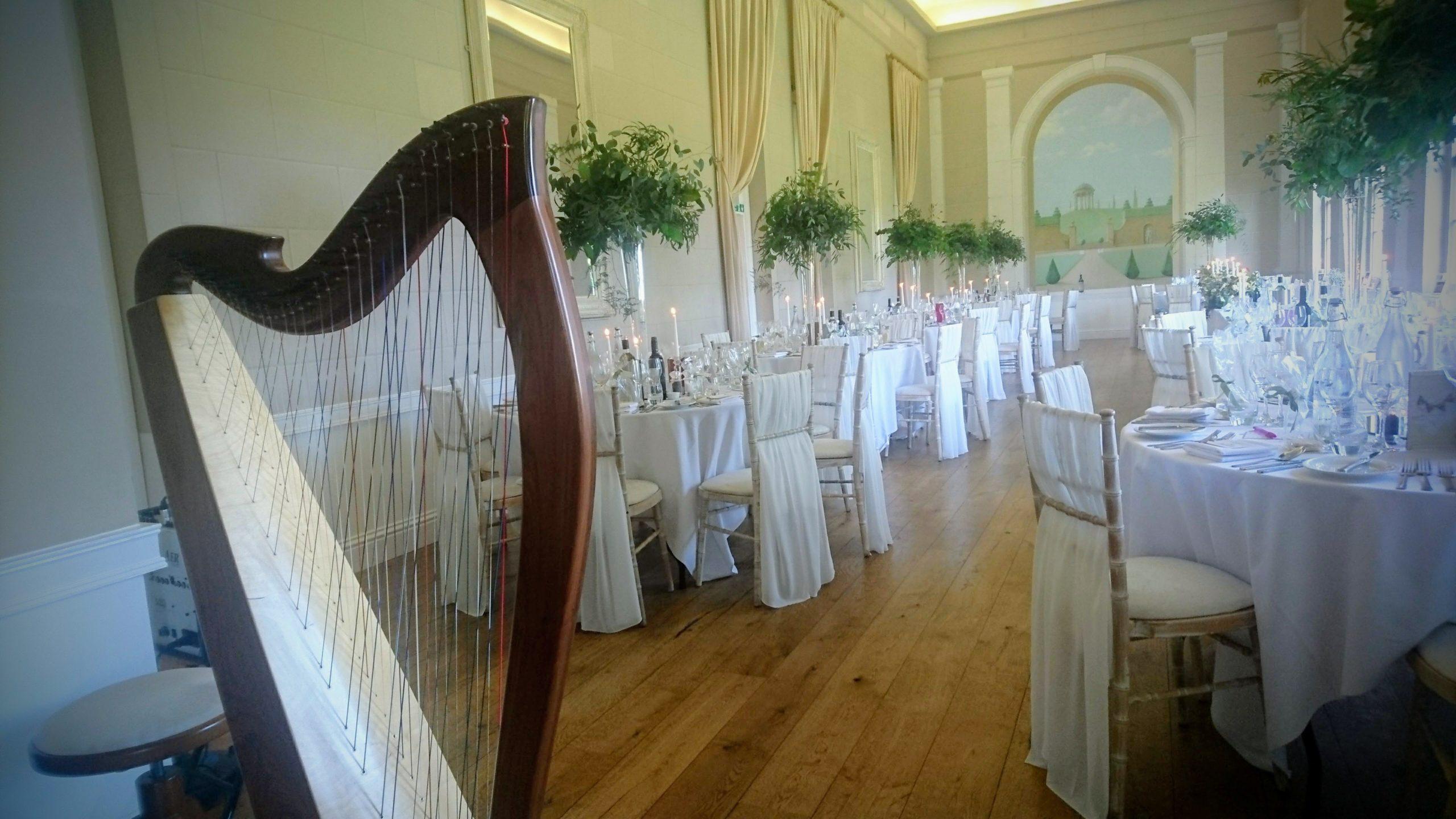harp at wedding breakfast