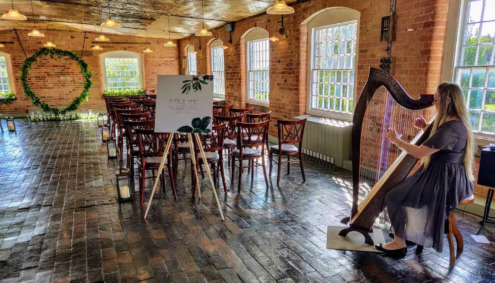 Wedding Harpist at the West Mill Derby